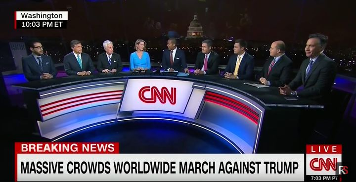 Great job, CNN - you crammed nine people onto your panel. You win (a prize for gimmicky, shallow, and nonsense-filled coverag