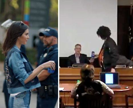Left: In the cancelled commercial Kendall Jenner somehow solves police brutality by handing a police...