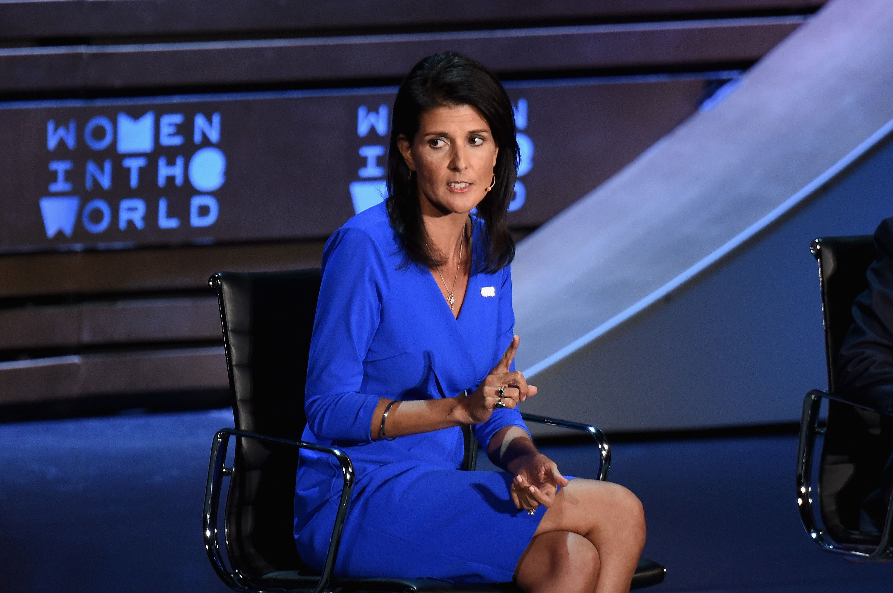 NEW YORK, NY - APRIL 05:  United States Ambassador to the United Nations, Nikki Haley speaks during the Eighth Annual Women In The World Summit at Lincoln Center for the Performing Arts on April 5, 2017 in New York City.  (Photo by Michael Loccisano/Getty Images)