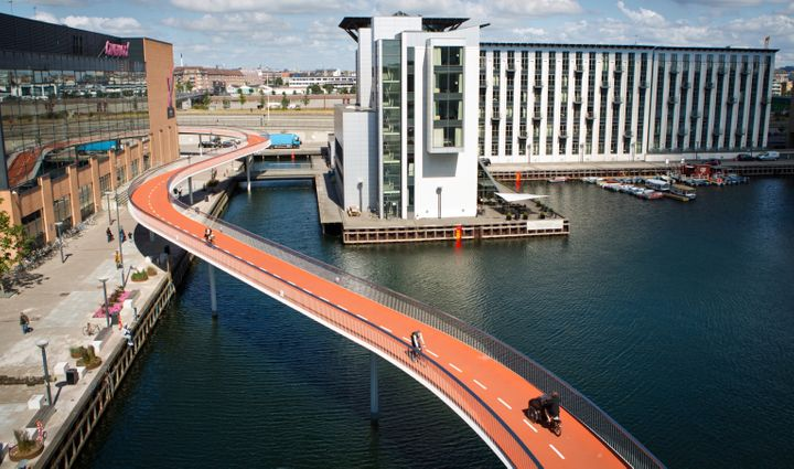 56 percent of Copenhageners take the bike to work or study, thanks to the sophisticated cycling infrastructure around the cit