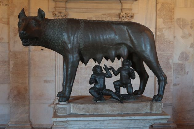 A sculpture of Romulus and Remus suckling at the she-wolf at the Musei Capitolini in