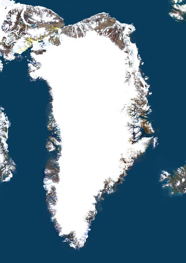 About 80 percent of Greenland, pictured in this satellite image, is covered in an enormous ice sheet....