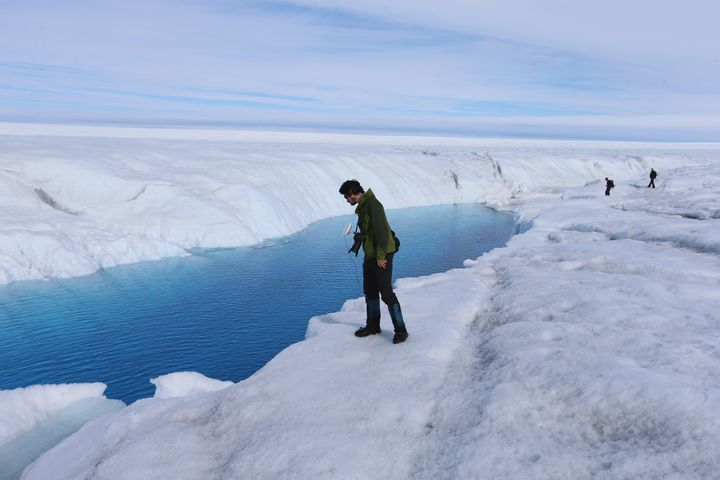 A meltwater stream on Greenland's ice sheet.