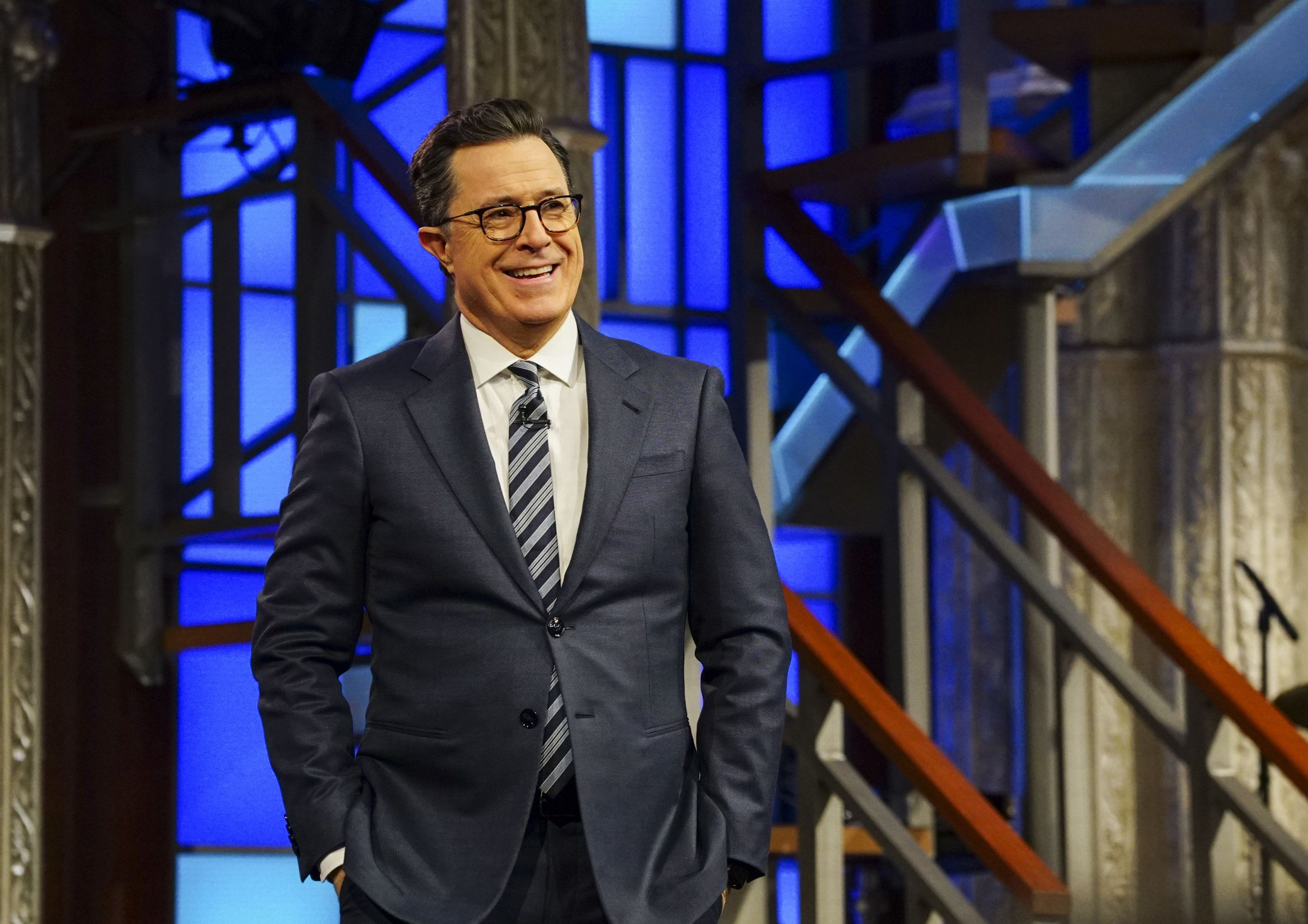NEW YORK - FEBRUARY 15: The Late Show with Stephen Colbert airing Wednesday, Feb. 15, 2017 with Bob Odenkirk, Tatiana Maslany and George Saunders. Pictured: Stephen Colbert. (Photo by Gail Schulman/CBS via Getty Images)