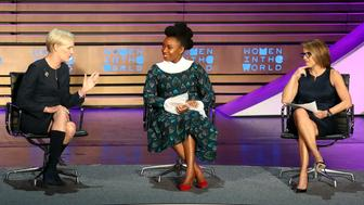 NEW YORK, NY - APRIL 05:  (L-R) President of the Planned Parenthood Federation of America Cecile Richards, author Chimamanda Ngozi Adichie and journalist Katie Couric speak on stage at the 8th Annual Women In The World Summit at Lincoln Center for the Performing Arts on April 5, 2017 in New York City.  (Photo by Monica Schipper/WireImage)