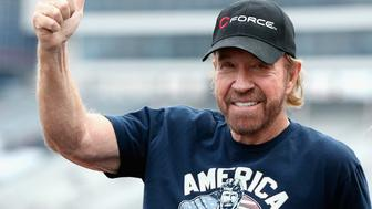 FORT WORTH, TX - NOVEMBER 06: Actor Chuck Norris is introduced prior to the NASCAR Sprint Cup Series AAA Texas 500 at Texas Motor Speedway on November 6, 2016 in Fort Worth, Texas.  (Photo by Sean Gardner/NASCAR via Getty Images)