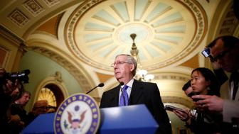 U.S. Senate Majority Leader Mitch McConnell (R-KY) speaks to reporters after the weekly Republican caucus policy luncheon at the U.S. Capitol in Washington, U.S. April 4, 2017. REUTERS/Eric Thayer