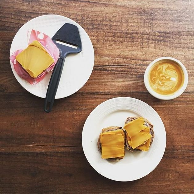 Coffee and brunost cheese slices on
