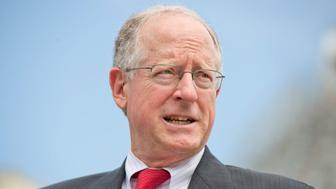 UNITED STATES - MAY 19: Rep. Mike Conaway, R-Texas, conducts a news conference at the House triangle to push for repeal of the country-of-origin labeling (COOL) requirements for meat products, May 19, 2015. (Photo By Tom Williams/CQ Roll Call)