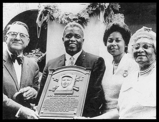 <em>Left to right: </em>Branch Rickey, Jackie, Rachel Robinson, Mallie Robinson