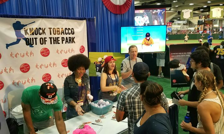 Fans flocked to the campaign's booth at last year's MLB All-Star FanFest.