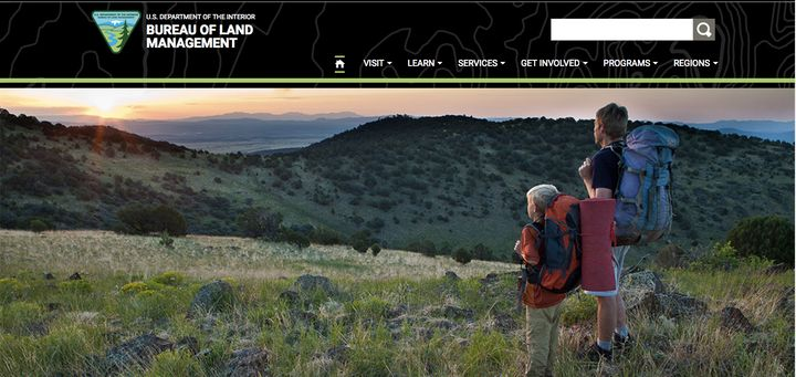 Screenshot of the BLM site on April 5, 2017.