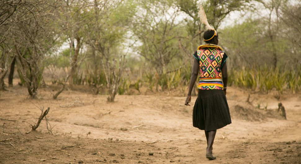 Cheposait Adomo walks in the bush in Kenya's West Pokot near where she was bitten repeatedly by a snake.