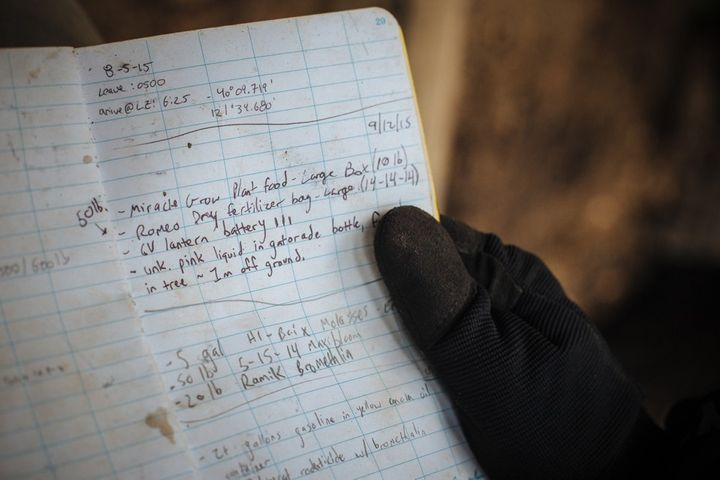 A researcher's notebook lists the chemicals left behind at a grow site.