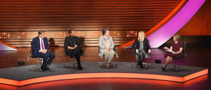 From left to right: Marc Pritchard, Queen Latifah, Madonna Badger, Fiona Carter and Katie Couric speak during the Eighth