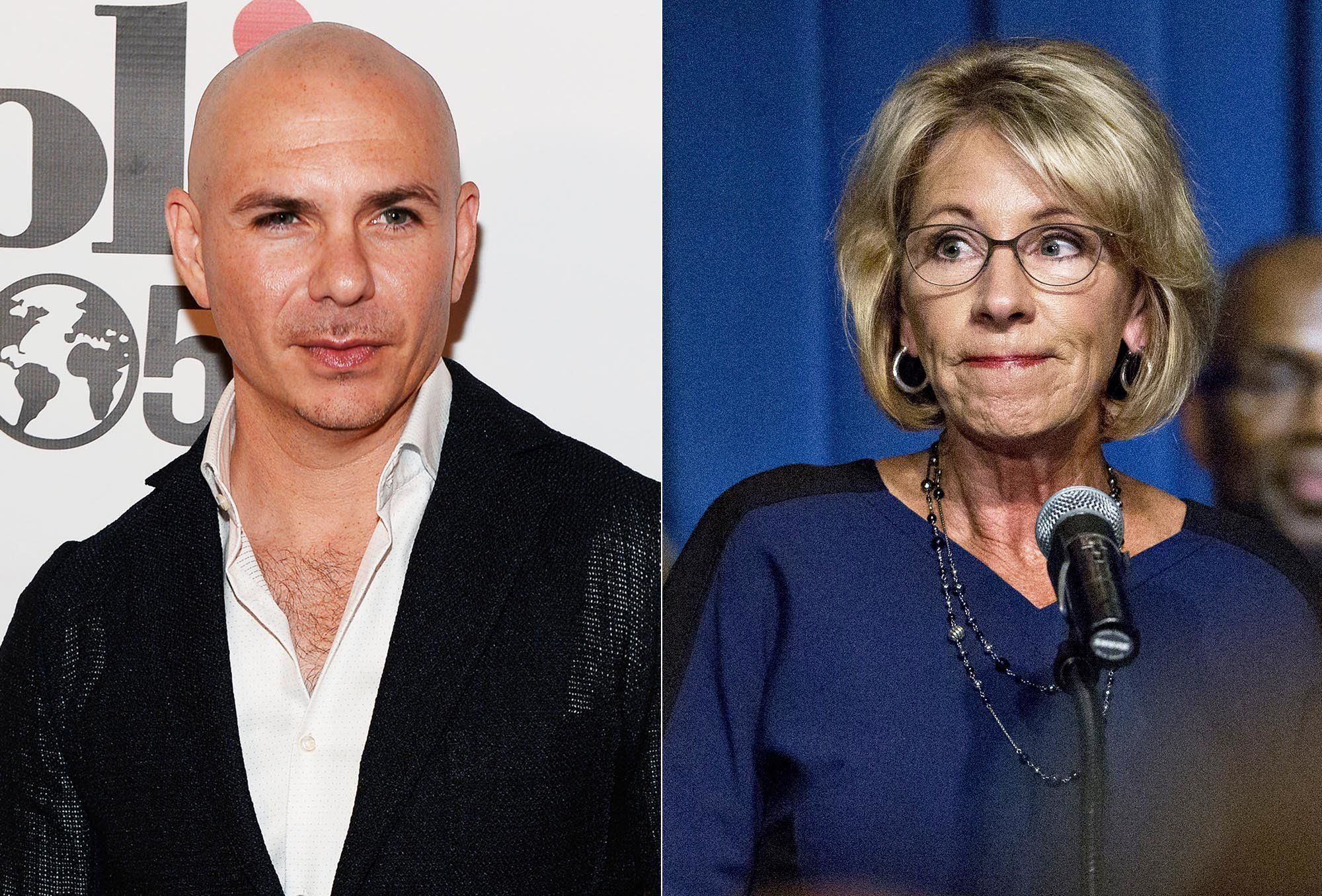 Education Secretary Betsy DeVos praised a school started by Pitbull despite its less-than-stellar record.