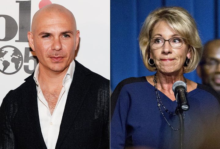 Education Secretary Betsy DeVos praised a school startedby Pitbull despite its less-than-stellar record.