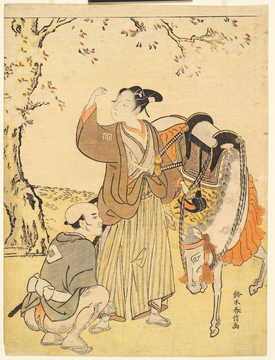 "Suzuki Harunobu (1725-1770), ""A Young Samurai Viewing Cherry Blossoms,"" 1767-1769. Color woodblock print."