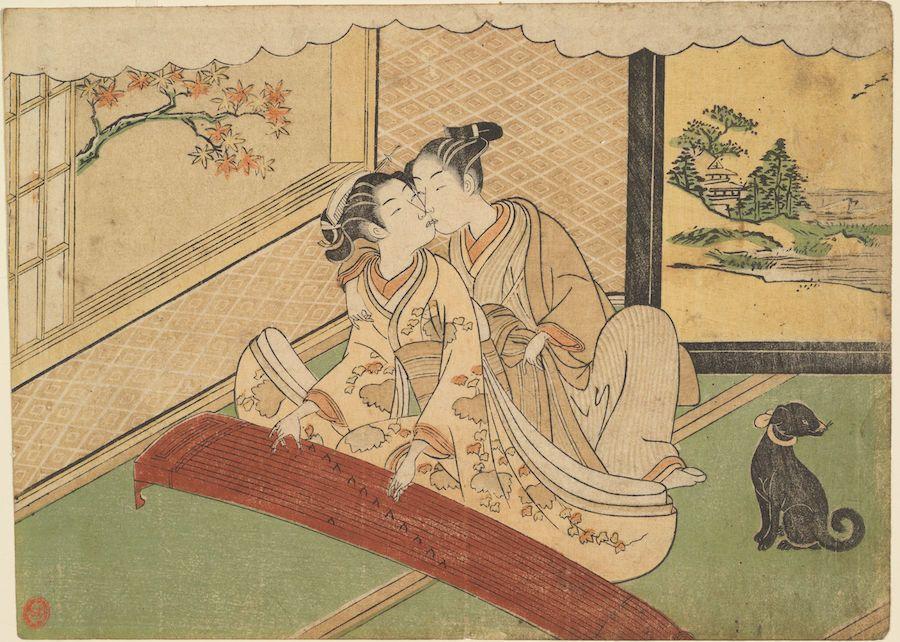 "Suzuki Harunobu (1725-1770), ""Geese Descending on the Koto Bridges from Eight Fashionable Parlour Views,"" 1768-1770. Color woodblock print."