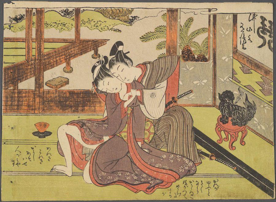 "Isoda Koryūsai (1735-1790), ""Samurai Wakashu and Maid,"" 18th century. Color woodblock print."