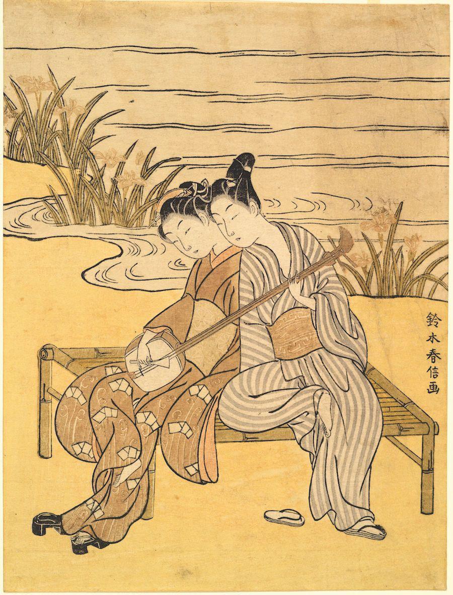 "Suzuki Harunobu (1725-1770), ""Two Lovers Playing a Single Shamisen,"" 1766-1769. Color woodblock print."