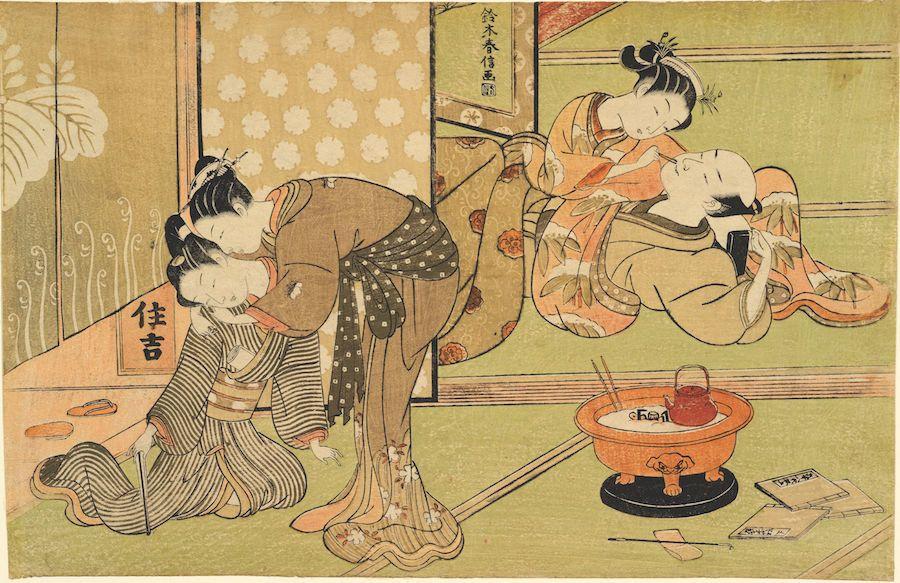 "Suzuki Harunobu (1725-1770), ""Two Couples in a Brothel,"" 1769-1770. Color woodblock print."