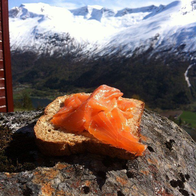 Norwegian salmon, on a piece of bread.