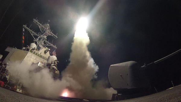 The guided-missile destroyer Porter conducts strike operations on Syria.
