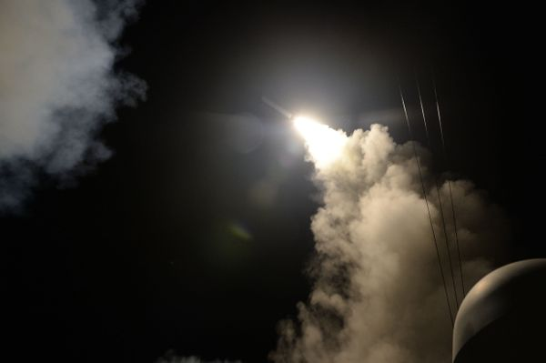 One of the 59 missiles launched toward Shayrat Air Base in Syria comes from the guided-missile destroyer Porter.
