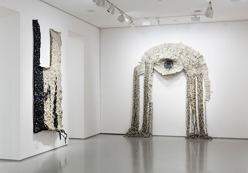 Moffat Takadiwa, <em>Say Hello to English</em>, exhibition view at Tyburn Gallery, 2017. Courtesy the artist and Tyburn Galle