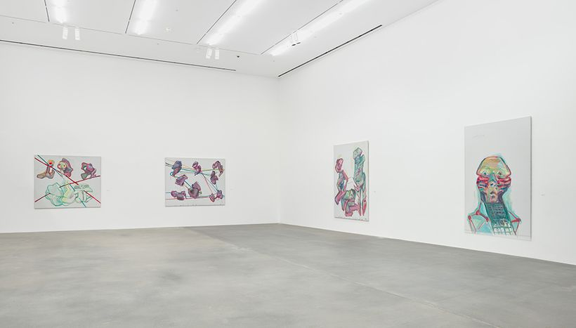 Installation view, <em>Maria Lassnig. A Painting Survey, 1950 –2007</em>, Hauser & Wirth London, 2017 © Maria Lassnig Foundat
