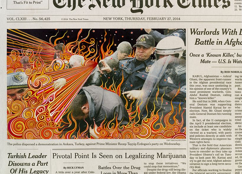 Fred Tomaselli, <em>Thursday Feb 27 2014</em>, 2016, acrylic over archival inkjet print, 43 x 59 3/4 in. (109.2 x 151.8 cm).