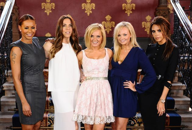 Victoria with the rest of the Spice Girls pictured in