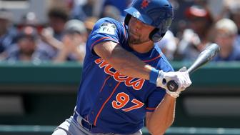 LAKELAND, FL - MARCH 20: Tim Tebow (97) of the Mets at bat during the spring training game between the New York Mets and the Detroit Tigers on March 20, 2017 at Joker Marchant Stadium in Lakeland, Florida. (Photo by Cliff Welch/Icon Sportswire via Getty Images)