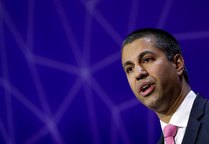 Ajit Pai, Chairman of U.S Federal Communications Commission, delivers his keynote speech at Mobile World Congress in Barcelon