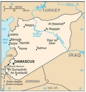 Map of Syria and surrounding countries