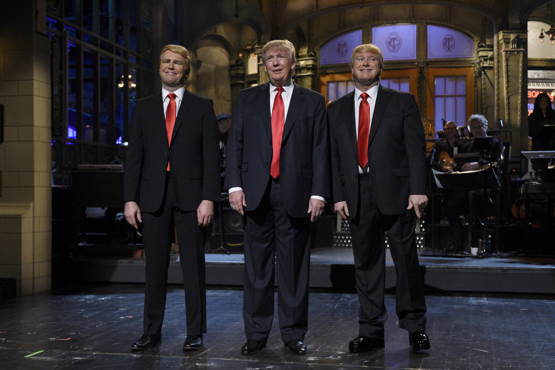 Taran Killam, Donald Trump, and Darrell Hammond on