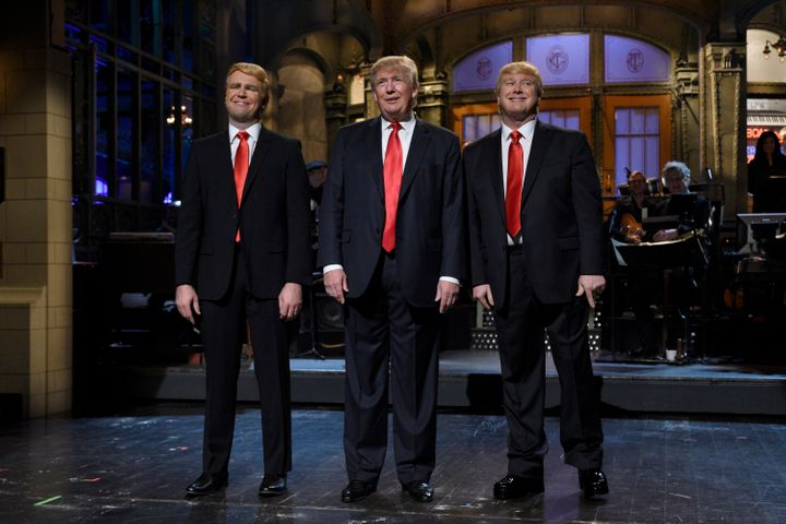 "Taran Killam, Donald Trump, and Darrell Hammond on ""SNL."""
