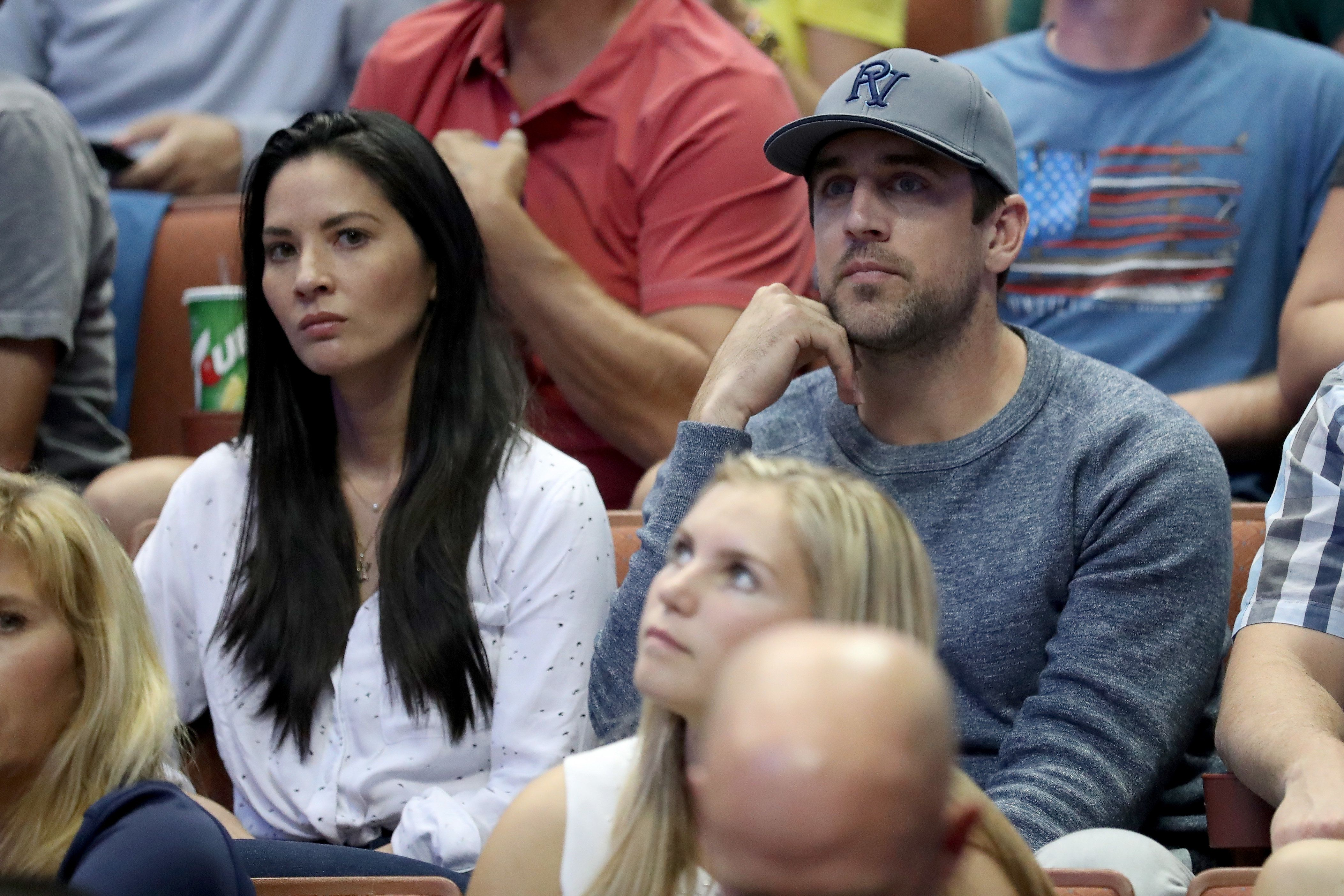 ANAHEIM, CA - MARCH 26:  Actress Olivia Munn and Aaron Rodgers of the Green Bay Packers watch the NCAA Men's Basketball Tournament West Regional Final at Honda Center on March 26, 2016 in Anaheim, California.  (Photo by Sean M. Haffey/Getty Images)