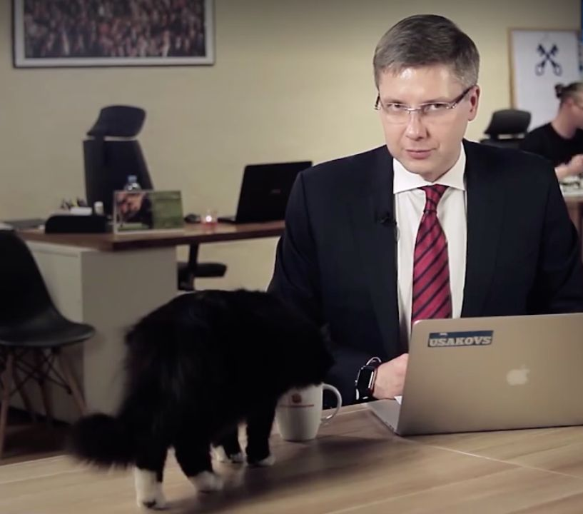 Thirsty Cat Doesn't Give A Heck About Interrupting Mayor's Big