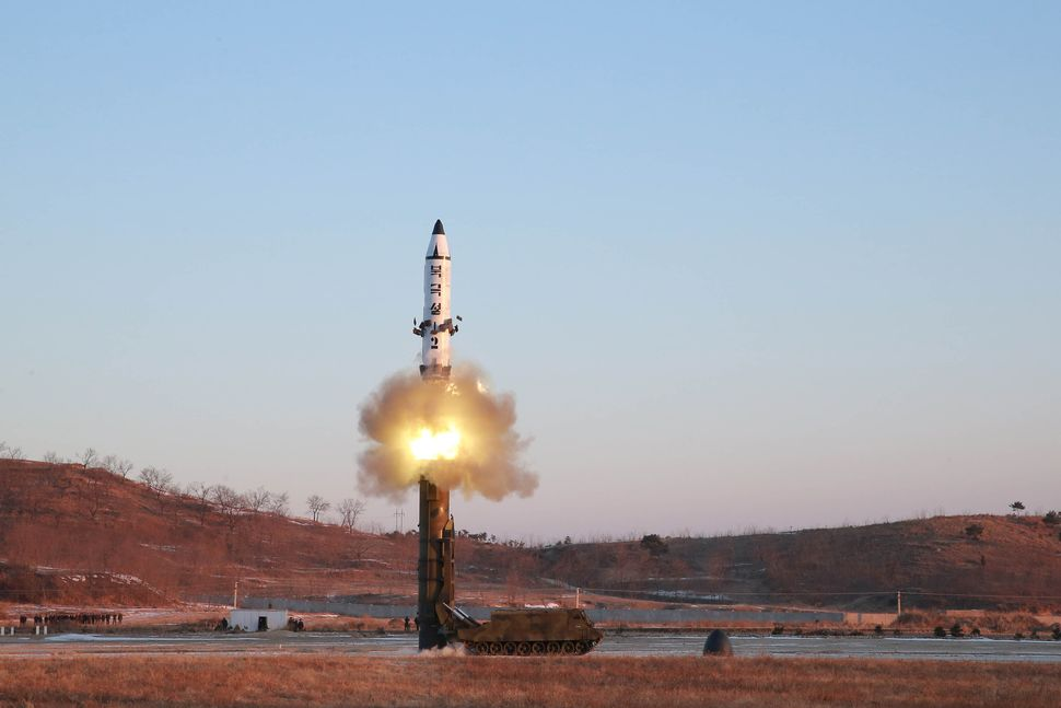 An undated photo released by North Korea's Central News Agency gives a view of the test-fire of Pukguksong-2.