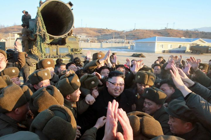 North Korean leader Kim Jong Un during the test fire of Pukguksong-2.