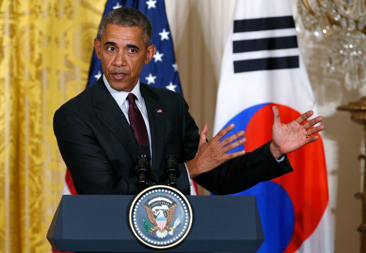 U.S. President Barack Obama held a joint news conference with South Korea's then-President Park Geun-hye at the White House in Washington Oct. 16, 2015.