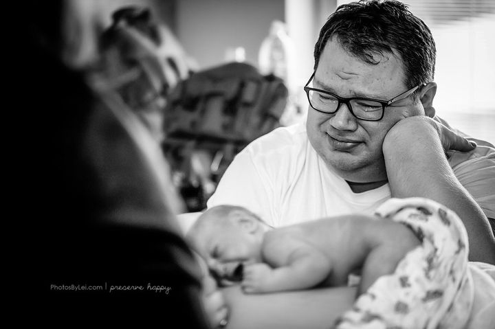 Hunter was initially hesitant to have a birth photographer, but now says he'll treasure the photos forever.