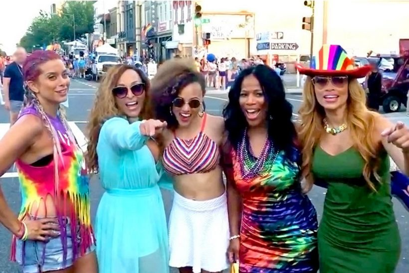 "The ladies of Potomac pose for a picture during the Pride Parade (<a rel=""nofollow"" href=""http://www.bravotv.com/the-daily-di"