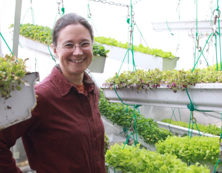 Clare Hinz inside the greenhouse of her farm in Herbster, Wisconsin.