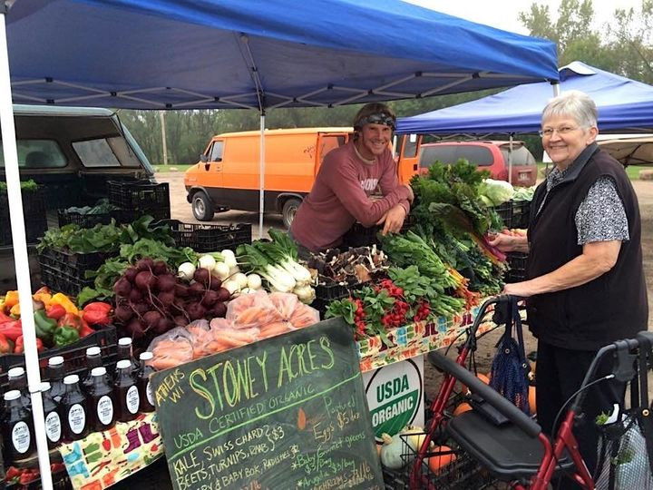 Tony Schultz of Stoney Acres Farm at a farmers market near Athens, Wisconsin.