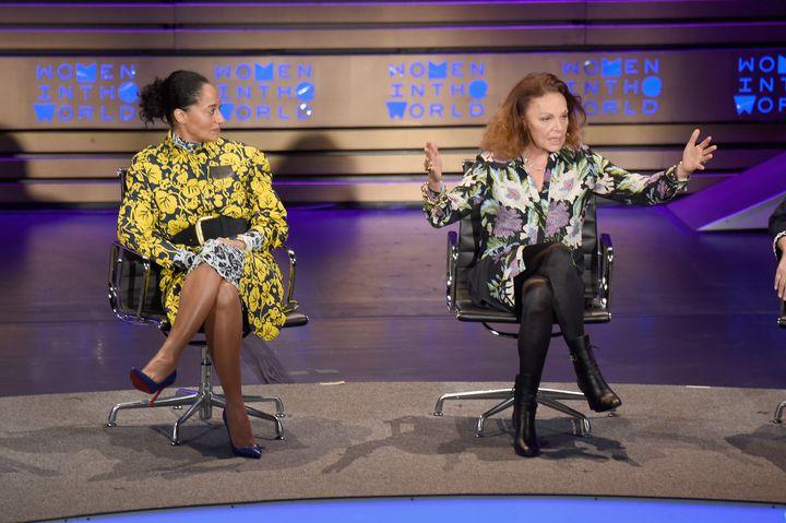 Diane von Furstenberg and Tracee Ellis Ross speak at Tina Brown's Women in the World Summit in New York City on April 7.&nbsp