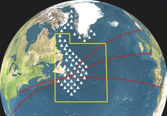 This infographic shows maritime shipping routes in red, intersecting with common icebergextents.