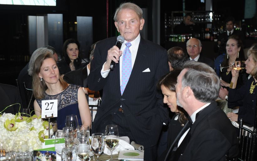 Ted Hartley, accepting the award for his wife, Dina Merrill Hartley